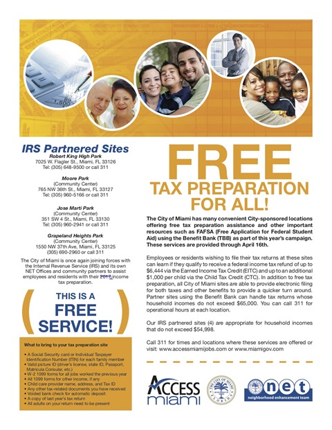 City of Miami Offers Free Tax Preparation Services to