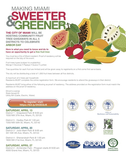 Help make Miami greener and sweeter! Arbor Day 2019 - Miami