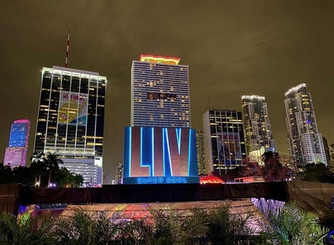 Skyline shot of Miami at Bayfront Park with Super Bowl LIV sign in forefront