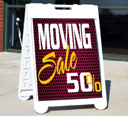 Moving sale portable sign